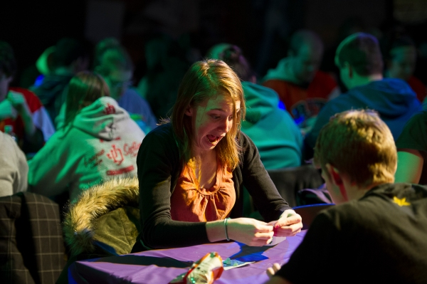 Erin Moore, a first year molecular bioscience and biotechnology major, reacts to a number on her bingo card being called during the Late Night Rock'n Bingo held during Rochester Insitute of Technology's Freezefest  on the University's campus in Henrietta, N.Y., on Friday Feb.1, 2013.