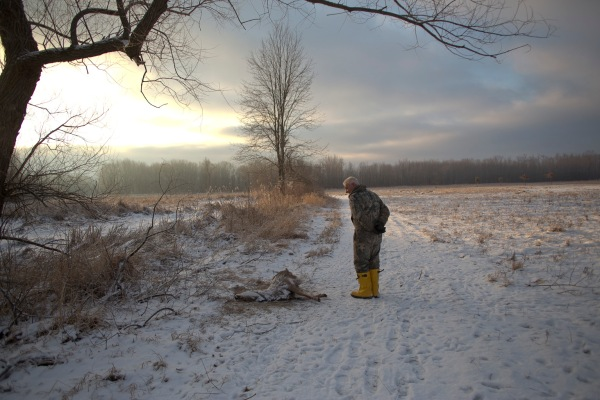 (Name withheld) surveys a deer carcass in a West Henrietta field after it was ravaged by coyotes on January 27, 2013.