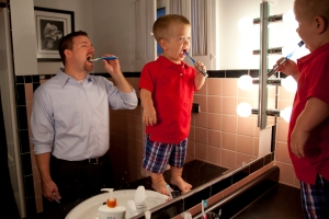 Getting ready for his first day of kindergarten, Owen Wright, 5, brushes his teeth with his father, Dan Wright, in Grand Blanc, Mich. on Sept. 4, 2012. Two months after Owen was born he was diagnosed with achondroplasia, a disorder of bone growth that causes the most common type of dwarfism.