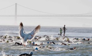 Athletes from all over the world gathered on the San Francisco Belle near Alcatraz to compete in the 32nd annual Escape from Alcatraz Triathlon. After a 1.5 mile swim, an 18 mile bike ride and an 8 mile run, the competitors crossed the finish line on Sunday, June 10, 2012, in San Francisco, California.