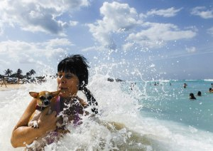 The crashing waves at Santa Maria Beach caused a Cuban woman and her dog to fall into the water on Wednesday, February, 27th, 2013, in Santa Maria, Cuba.