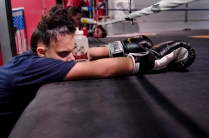 New York State Champion Celina Carissimi works out after school at her home gym in Geneva, NY January 9, 2013.