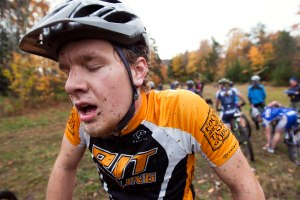 James Curtis tries to catch his breath after the men's B class short track race during the Eastern Collegiate Cycling Conference Championships at Burke Mountain in the North East Kingdom Vermont on October 10th, 2012.