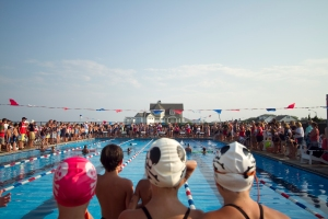 A large amount of spectators of friends and family show up to support swimmers in the Monmouth Beach Bath & Tennis Club versus Sea Bright Beach Club swim meet.
