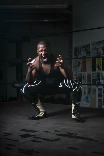 "Professional Wrestler Gabreal Sant poses for portraits at their gym in Rochester, NY on Sunday, September 29, 2013. ""It takes a little more from me every day."" Photo by Maureen MacGregor"