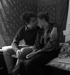 Zachary Potter kisses Brenda Bingham after a party in Rochester, NY. Photo by Evan Ortiz