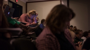 Hannah struggles to focus in class. Because of her turbulent lifestyle with partying, her education work is affected, and she will miss classes or be too tired to focus at school.