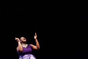 "Deborah Solomon performs a spoken-word prayer called ""Prayer Changes Things"" at Gospelfest: The Musical on January 31, 2014. ""If it had not been for The Lord on my side, I don't know where I would've been. You have to trust God and have faith and belief enough to know that your life can change,"" Solomon comments."
