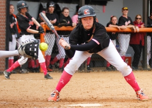 Sarah Wolcott #16 of the RIT Tigers strikes out looking during the first  game of a doubleheader against the Saint Lawrence Saints at Tiger Stadium on Friday, April 25, 2014 in Henrietta, N.Y.  The beleaguered Tigers dropped both games on the way to what is assured to be the losing-most season in program history. Photo by Josh Barber
