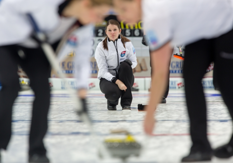 Lene Nielsen, the Denmark Skip, watches a stone she threw travel down the ice at the Le Gruyère European Curling Championships on 11/23/2014. Denmark ended up in 4th place after losing to Scotland 8 to 4 in the bronze medal game.