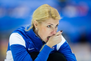 Maile Moelder, the Estonian Skip, watches a stone she threw travel down the ice at the Le Gruyère European Curling Championships on 11/25/2014. Estonia ended up in 8th place with a record of 2 and 7.