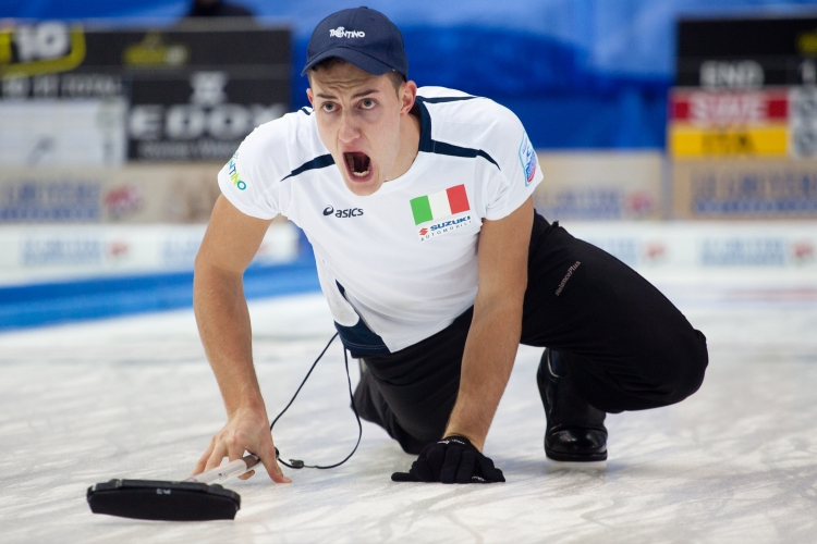 Amos Mosaner the Vice Skip for Italy yell at his team to sweep during the Le Gruyère European Curling Championships on 11/27/2014. Italy ended up in fourth place with a record of 7 and 4.