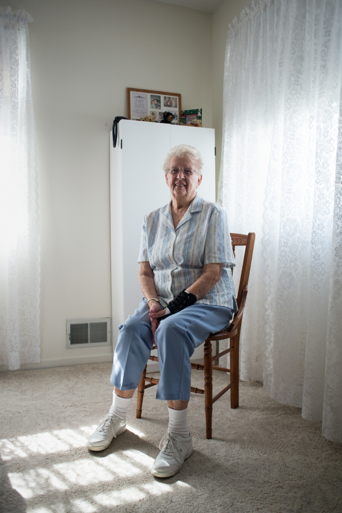 "Eileen Enter, 89, poses for a portrait in her home, located at Fairport Baptist Nursing Homes' independent housing complex, on September 26, 2015 in Fairport, N.Y. Eileen has been married to her husband for 62 years; on that she said while laughing, ""We had one good year, be we can't remember which one!"""