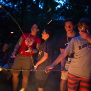Attendees learn how to roast marsh mellows over a bonfire at Camp Abilities, hosted by the Maryland School for the Blind on June 30, 2015 in Baltimore, Md.