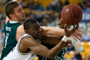 Anthony Avery (34), of Western Michigan, holds the ball by the tip of his fingers during a basketball game against Eastern Michigan on Saturday, Jan. 30, 2016 in University Arena in Kalamazoo, Mich. Western Michigan defeated Eastern Michigan 94-86.