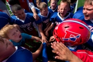 The Fairport Packers C team celebrate after defeating the East Rochester Bombers 13-12 in a football game at Don Quinn Field Sept. 27, 2015. East Rochester, N.Y.