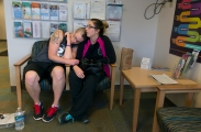 (Newlyweds, Tyler and Jessica Rinallo, experience many of the same challenges other couples face as they adjust to married life together. In addition to the simple changes, their lives are transforming in more complex ways as Tyler transitions from being a female to a male.) Tyler Rinallo rests his head on Jess Rinallo's shoulder in the waiting room at Trillium Health on Aug. 12, 2015 before his doctorÕs appointment where they are going to teach him how to self-inject himself with testosterone for the first time. Even though Jess was unsupportive of Tyler's decision to transition from female to male in the beginning, she now has become his biggest support system throughout his journey.