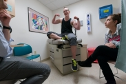 """Summary: Newlyweds, Tyler and Jessica Rinallo, experience many of the same challenges other couples face as they adjust to married life together. In addition to the simple changes, their lives are transforming in more complex ways as Tyler transitions from being a female to a male. Tyler shows his new muscles to Dr. Bill Schaefer and Jess at his doctors appointment on May 13, 2015. Jess doesn't smile at this because she has concerns and wants to speak with Dr. Schafer about adjusting Tyler's anxiety medications. Tyler and Jess' relationship became very tense once Tyler started hormone replacement therapy, there was a lot of anger coming from Tyler, """"Like beet red, like hulk anger, to the point where I just shut down and would stand there and let it happen and then go about my business,"""" explained Jess."""