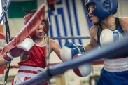 Reuben Miranda, 11 (right), delivers a quick jab to Jay'Von Cummings, 10 (left) at the West Area Athletic and Education Center in Syracuse, N.Y. on Dec. 10, 2016. Cummings lost against Miranda 10-9 resulting in disqualification for the next rounds for the remaining year.